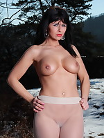 Pantyhose Diva covers her body with a jacket | PantyhoseDiva.com
